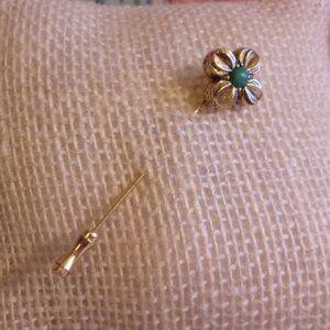 Gold Tone Floret Green Stone Stick Pin